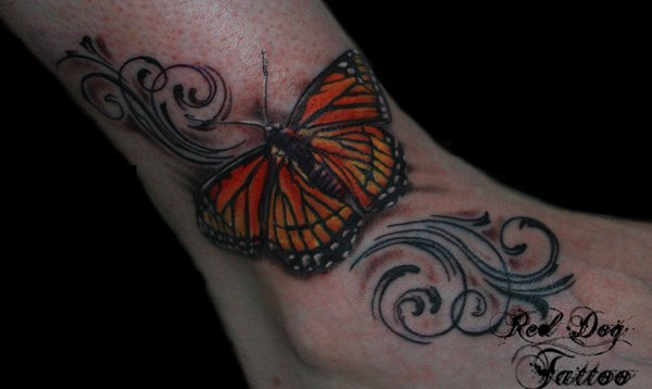 Swirly-Monarch-Butterfly-Tattoo-On-Ankle